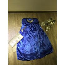 Vestido Azul Strapless Cóctel Marca Xoxo