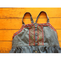 Vestido Tirantes Zara Mezclilla 9/10 Bordado Gymboree Gap
