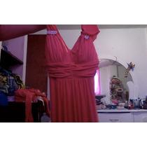 Vestido De Noche Color Coral Largo