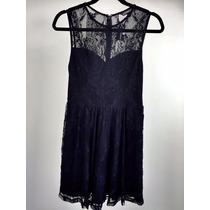Vestido Cóctel Dama Marca Express Color Negro En Encaje