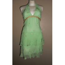 Milly! Exótico Vestido Halter Verde Y Dorado Fiesta Seda T-4