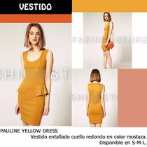 *fashionstore* Pauline Yellow Dress. Vestido Color Mostaza