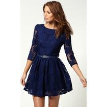 Vestido Crochet Encaje Azul Moda Importada Asia