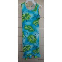 Talla-14 Niña My Michelle Vestido Azul Y Flores Verdes! Vn68