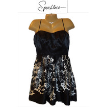 Vestido De Fiesta Talla 11 Corto Straples Negro Bco Hermoso!