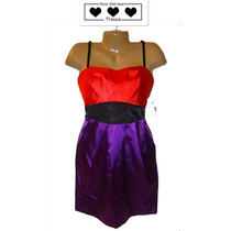 Vestido De Fiesta Talla 9 Corto Straples Naranja Morado Ve!