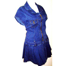 Mini Vestido Tableado Mezclilla Strech Tallas Extras 38 A 50