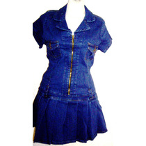 Mini Vestido Tableado Mezclilla Stretch Y Tallas Extras
