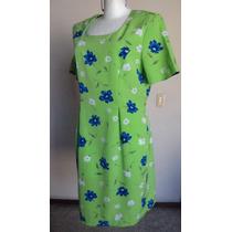 Talla-12 Sag Harbor Vestido Verde Con Flores Azules! Vt22