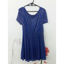 Vestido Azul Rey Talla Xl Encaje Línea A Manga Corta