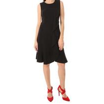Elegante Vestido Calvin Klein Negro Escarola Corto T6 Formal