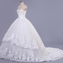 Vestido De Novia Largo Princesa Encaje Organza Aplicaciones