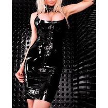 Moda Sexy Vestido De Vinyl Brilloso Con Cierre Y Agujetas