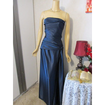 Vestido Gala Dama Talla L (16 Usa) Color Azul Bodas Xv