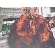 Vestido De Xv Color Dorado, Café Y Beige