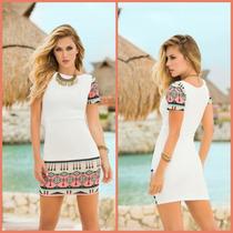 Vestido Moda Colombiana Color Corto Blanco Bohemio