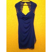 Vestido De Noche Azul Liz Menelli Talla Mediana