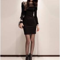 Vestido Corto Formal Trabajo Eventos Manga Larga 2641