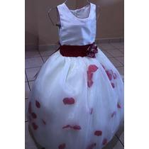 Vestido Con Pétalos Para Paje O Presentación (blanco/rojo)