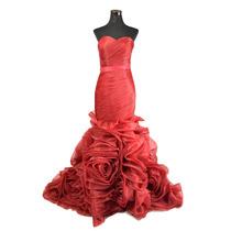 Vestido De Noche De Boda De Piesta De Gasa Largo Rojo