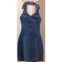 Vestido Mezclilla Denim Casual Cuello Halter Retro Vintage