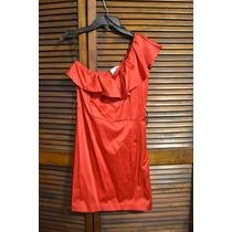 Vestido Satin Rojo Marca Zalma De Un Tirante Con Olanes