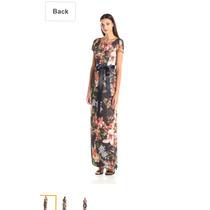 Vestido Adrianna Papell Talla 6 Dorado Flores Multi Color