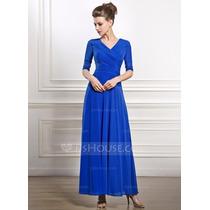 Vestido De Fiesta Noche Al Tobillo Color Azul Rey