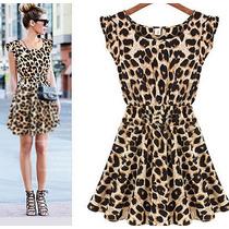 Vestido Casual Animal Print De Día Moda Sexy De Temporada