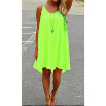 Vestido Verano Color Hot Fresco Comodo Playa Holgado Sexxxy