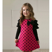 Elegante Vestido Para Niña Bolitas Promocion Moda Japonesa