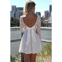 Moda Sexy Vestido Fiesta Blanco Encaje Escote En Espalda