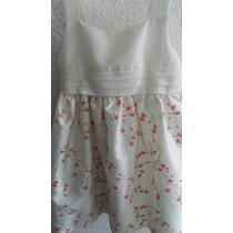 Vestido Blanco Bordado Casi Nuevo Talla 3-4 Niña