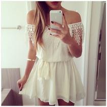 Vestido Blanco Moda Europea Asiatica Slim Fit Envio Gratis