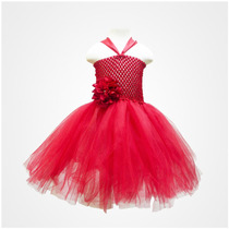 Vestido Tutu Para Niñas Rojo Con Flor