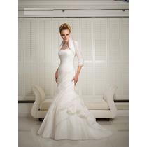 Hermoso Vestido De Novia Corte Sirena De Organza Elegante