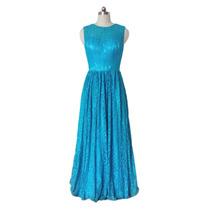 Baituya Vestido De Boda De Noche De Baile Azul Sin Manga