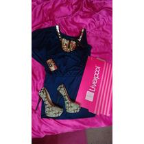 Vestido Baby Phat Azul/dorado Original