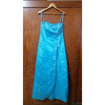 Vestido De Noche Straple Azul