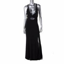 Vestido Largo Negro Lentejuela. Betsy & Adam. Talla 8