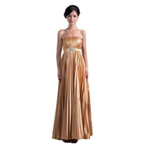 Baituya Vestido De Boda De Noche De Baile De Oro Largo