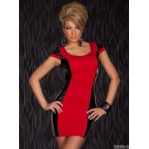Moda Sexy Mini Vestido Rojo Con Vinyl Negro A Los Costados