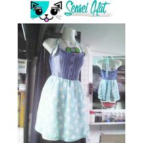 Vestido Pastel Goth, Moda Estilo Kawaii Verde Con Calaveras