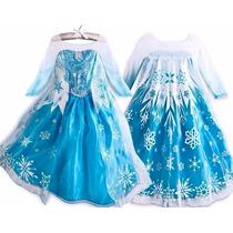 Vestido Disfras Elsa Y Anna Frozen Fever Clasico Coronacion