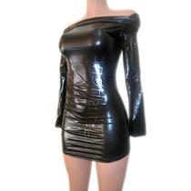 Vestido Metalico F-74258 Negro Todas Las Tallas