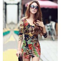 Bonito Vestido Barato Multicolor Moda Asiatica Importado