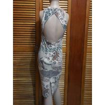 Vestido Estampado Espalda Bella Color Beige Talla Chica Hm4