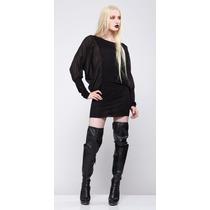 Vestido Negro De Chiffon Marca Widow Lip Service Deathrock