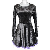 Vestido Corto Circular Terciopelo Gotico Pastel Goth