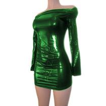 Vestido Metalico F-74258 Verde Todas Las Tallas